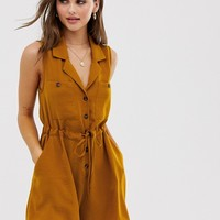 ASOS DESIGN button front pocket sleeveless utility romper | ASOS