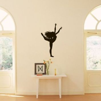 Sports Shapely Dancing Girl Ballet Ballerina Dance Studio Wall Vinyl Decal Art Sticker Home Modern Stylish Interior Decor for Any Room Smooth and Flat Surfaces Housewares Murals Graphic Bedroom Living Room (1945)