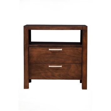 2 Drawers Nightstand With Open Shelf In Wood Brown