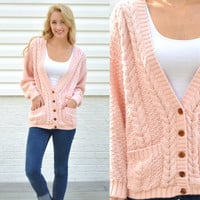 Vintage Hunters Run Light Pink Cardigan Knit Pink Button Cardigan Cable Knit Cardigan Medium Med M Pink Cable Knit Sweater Chunky Cardigan