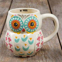 Be Happy Folk Owl Mug