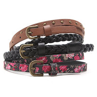 With Love From CA 3 Pack Floral Stud Tan Belt at PacSun.com