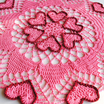 Crochet doily, pink hearts outlined in red, Valentine's Day doily