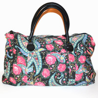 Vintage 80s Floral Print Bag Weekender Bag Overnight Bag Duffle Bag Gym School Book Bag Blue Black and Pink Roses