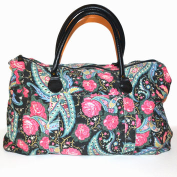 Vintage 80s Floral Print Bag Weekender Bag Overnight Bag Duffle Bag Gym School Book Bag Blue ...