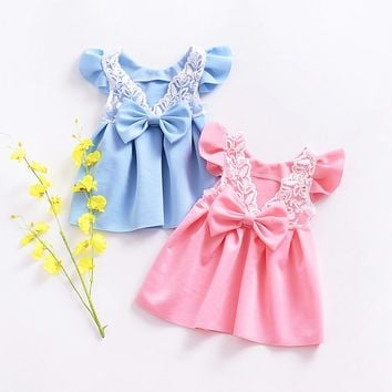 Princess Lace Ruffled Backless Dress For Baby Girl