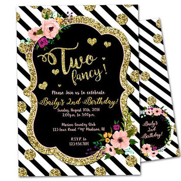 Two Fancy Birthday Invitations - Two Fancy Invitation - Girl 2nd Birthday Invitation - Gold Glitter Floral - Gold Too Fancy Invite - Floral