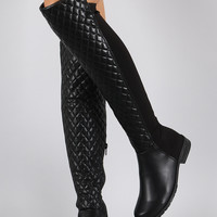 Bamboo Quilted Stretchy Over-The-Knee Riding Boots