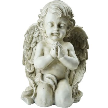 "13.5"" Kneeling Praying Cherub Angel Religious Outdoor Garden Statue"
