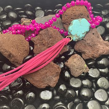 Pink Tassel Necklace with Turquoise