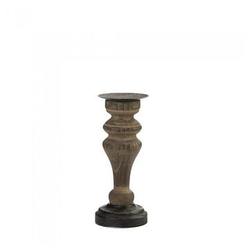 Antique-Style Wooden Column Candle Holder
