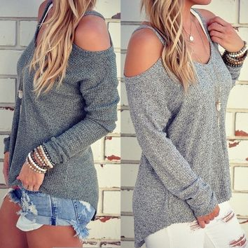 Women's Autumn Loose O-neck Off Shoulder Long Sleeve Knitted Sweater