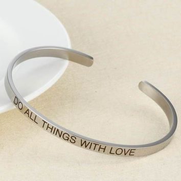 """Do All Things With Love"" - Stainless Steel Bangle"