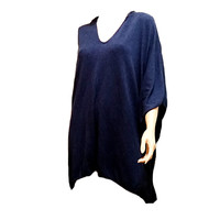 Blue Pullover Womens Poncho Knit Hooded Lagenlook Boho Oversized f137