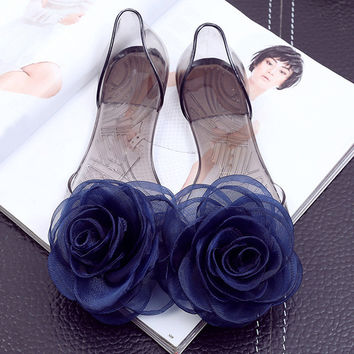 Sweet Flowers Lady Jelly Shoes Women Sandals Flat Summer Shoes Woman Casual Flats Shoes Sandalias Mujer WSH2057