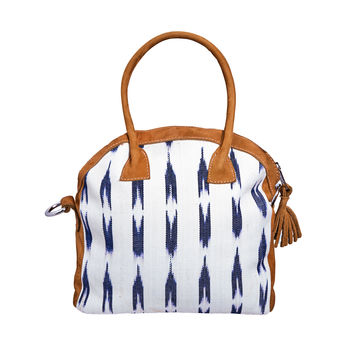 White Ikat Round Bag