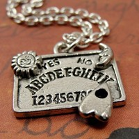 Ouija Board Necklace - Silver Plated Charm Necklace on a 17 inch Cable Chain