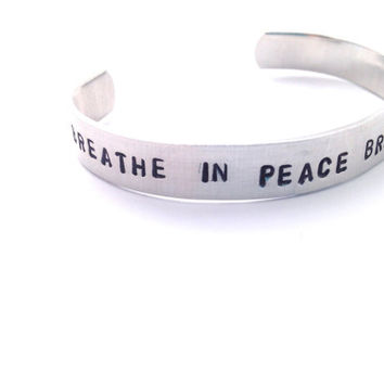 Yoga Jewelry Breathe in Peace Breathe Out Love Bracelet Personalized Hand Stamped