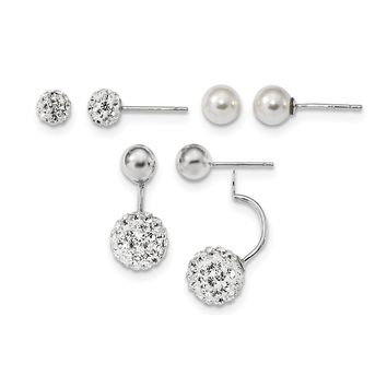 Sterling Silver Rhodium-plate Set of 3 MOP/Crystal Front Back Earrings
