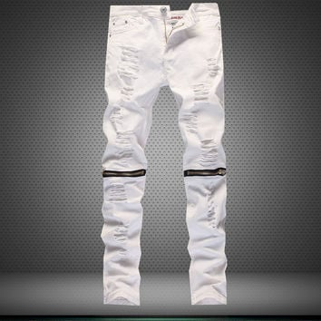 Men Ripped Holes Casual Slim Stretch Club Pants [6541849027]