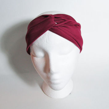 Marsala Turband Headband, Twist Headband, Knotted Head Wrap, Dark Red Hairwrap, Womens Headbands, Free US Shipping, Fashion Accessories