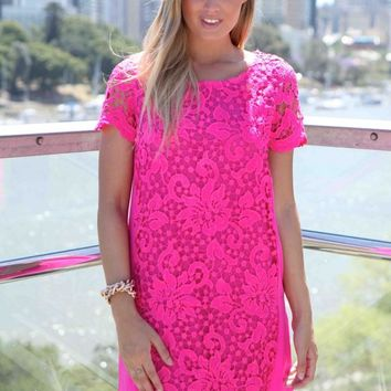 Pink Lace Front Short Sleeve Shift Dress