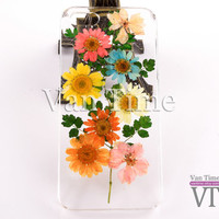 Pressed Flower case, Daisy, sunflower, iPhone 5 case, iPhone 4 case, iPhone 4s case, iPhone 5s case iPhone 5c case Galaxy S4 S5 Note 3, 100