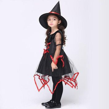 DCCKH6B Red Bandage Witch Girl Costume Children's Day Hag Black Dresses Cute Girls Cosplay Clothing Performance Clothes Child Gifts