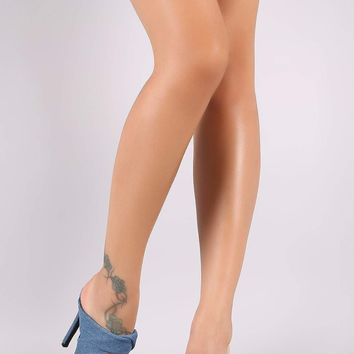 Twisted Bands Open Toe Denim Mule Stiletto Heel
