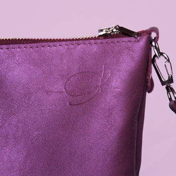 "High Quality Handmade Italian Leather Bag ""Joey Agate""/ Purple Shoulder Bag  / Small Leather Bag / Bag for iPad mini"