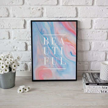 Fashion Poster, Beautiful Print, Colorful Print, Bedroom Decor, Minimal Art, Typography Poster, Home Wall Art, Pastel Art, Abstract Decor