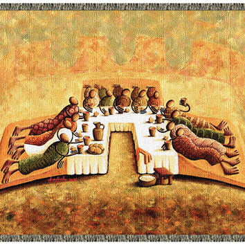 """""""The Lord's Last Supper"""" Tapestry Throw (with Fringe)"""
