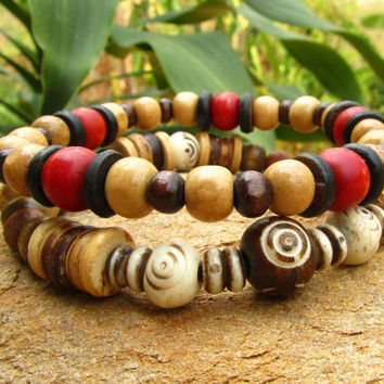 Mens Coconut Heishi, Wood & Bone Beaded Mala Style Surfer Bracelets / Meditation Stretch Hippie Boho Wrist Bands / Festival Beach Wear