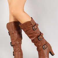 NB200-53 Leatherette Buckle Knee High Boot