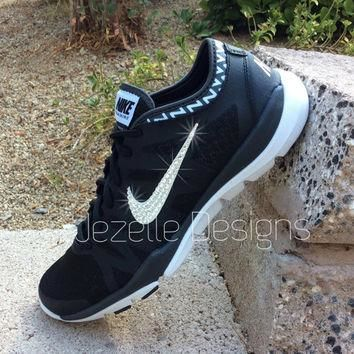 Bling Nike Shoes - Black - Women's Nike Flex Supreme TR3 - w/ Swarovski Crystals - Th