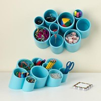 The Land of Nod: Kids' Storage: Kids' Blue Wall Cubby Organizer in Shelf & Wall Storage