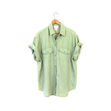 Sage Green Rayon Shirt Slouchy 90s Pocket TShirt Button Up Blouse 1990s Short Sleeve Basic Loose Fit Simple Vintage Tee Shirt Womens Large