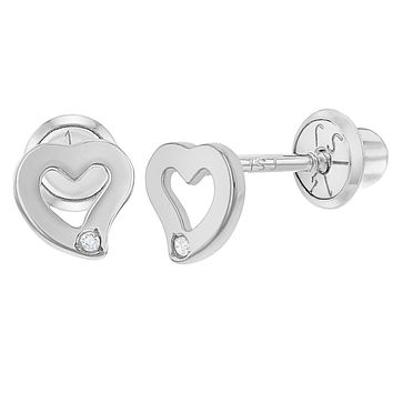 14k White Gold Diamond Accent Small Heart Screw Back Earrings Baby Girls