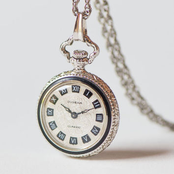 DUGENA watch necklace floral pattern, mechanical watch pendant for lady, ornamented face watch small, posh watch pendant her silver shade