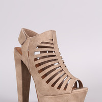 Speed Limited 98 Distressed Caged Cutout Platform Heel