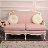 Shabby Sweet Pink Linen Settee - Sofas - Vintage Furniture - FURNITURE