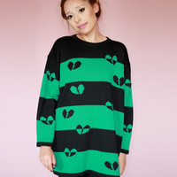 Vintage 80s Black Green Long Sweater with hearts break hearts - long sleeve - small - medium - large