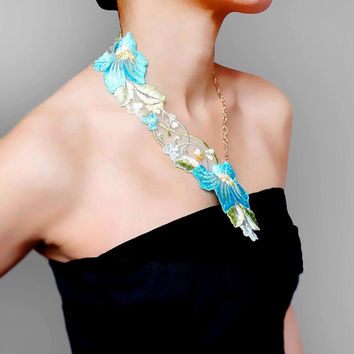 SALE statement necklace// sheer embrodery lace necklace // blue floral gold chain // fabric jewelry // gift for her