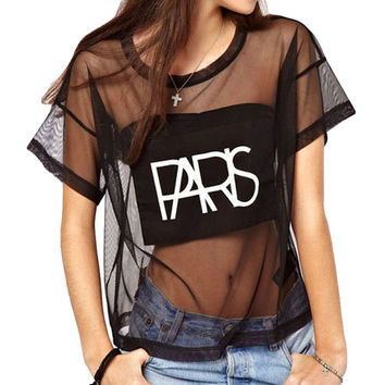 Crop Tops Mesh See-through Letter Print Short Sleeve Loose T-shirt
