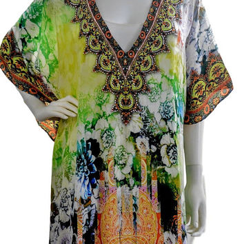 embellished kaftan, kaftan dress, silk caftan, boho maxi kaftan, caftan, Green dress
