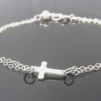 STERLING SILVER sideways CROSS bracelet-Bridesmaid,bestfriend,Wife,Girlfriend, Mothers Gift--simple everyday jewelry