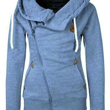 Blue Pockets Side Zip Badge Drawstring Hooded Long Sleeve Casual Vogue Hooded Sweatshirt