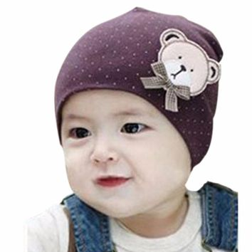Newborn Baby Solid Color Cute Bear Hat Lovely Boys Girls Unisex Cotton Beanie Cap New Sale
