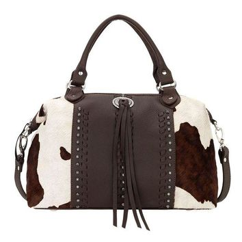 LMFYW3 American West Cow Town Large Zip-Top Chocolate Brown Convertible Satchel 4150227