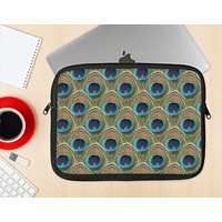 The Multiple Peacock Feather Pattern Ink-Fuzed NeoPrene MacBook Laptop Sleeve